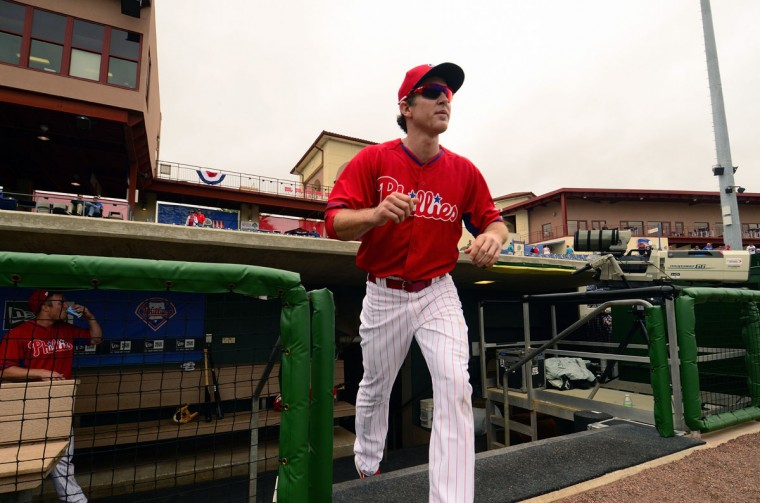 Philadelphia Phillies second baseman Chase Utley exits the dugout before the Toronto Blue Jays play the Philadelphia Phillies in a spring training exhibition game at Bright House Field. (David Manning-USA TODAY Sports)