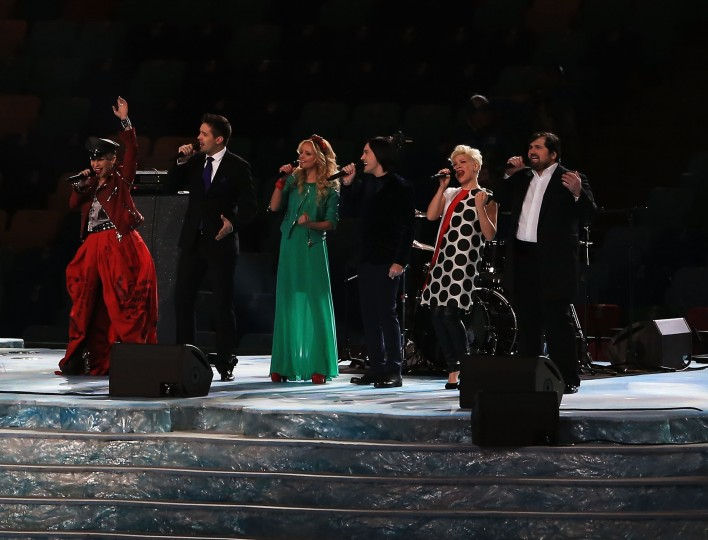 "Singers from ""The Voice"" Russia perform during the Opening Ceremony of the Sochi 2014 Winter Olympics at Fisht Olympic Stadium on February 7, 2014 in Sochi, Russia. (Photo by Richard Heathcote/Getty Images)"