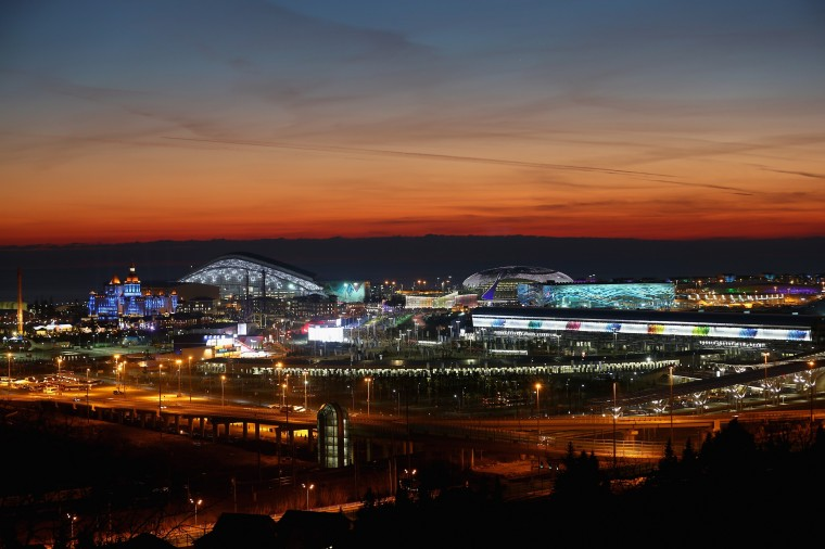 A general view of sunset at the Olympic Park during the Opening Ceremony of the Sochi 2014 Winter Olympics at Fisht Olympic Stadium on February 7, 2014 in Sochi, Russia. (Photo by Streeter Lecka/Getty Images)