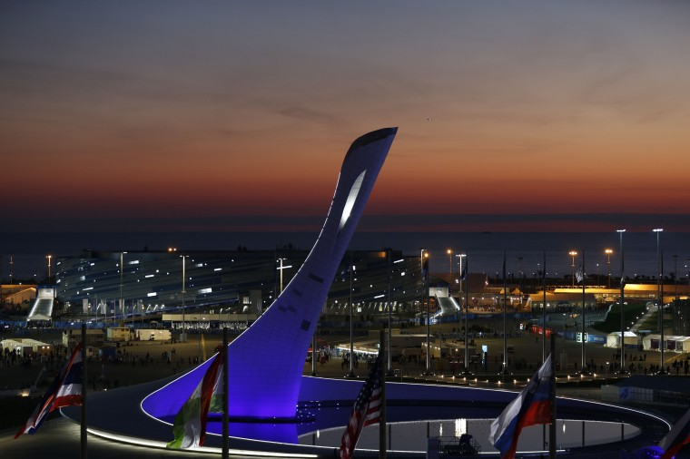 A scenic image of cauldron before lighting at the Sochi 2014 Olympic Winter Games at Fisht Olympic Stadium. (Jeff Swinger/USA TODAY Sports)