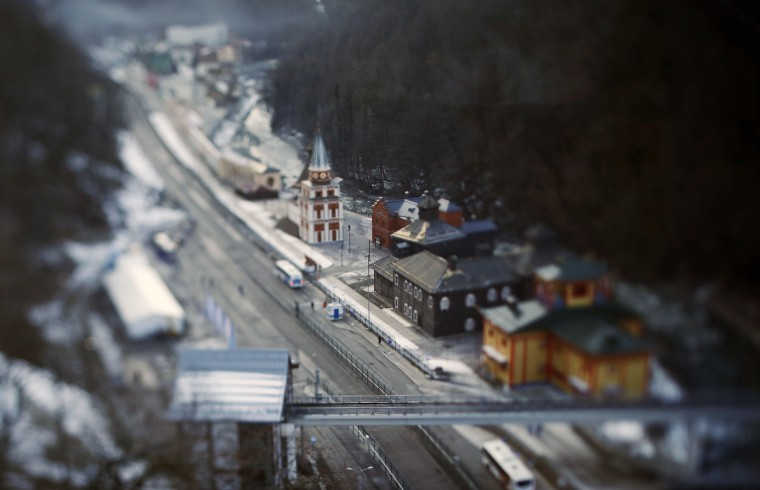 General view of Rosa Khutor village in the mountain cluster captured with a tilt shift lens before the opening ceremony of the Sochi 2014 Olympic Winter Games. (Kevin Jairaj/USA TODAY Sports)