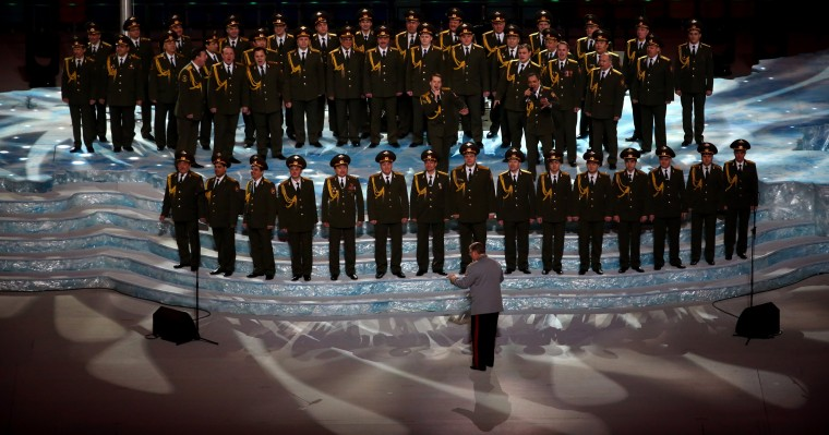 "The Ministry of Internal Affairs choir sings ""Get Lucky"" in the pre-show ahead of the Opening Ceremony of the Sochi 2014 Winter Olympics at Fisht Olympic Stadium on February 7, 2014 in Sochi, Russia. (Photo by Quinn Rooney/Getty Images)"