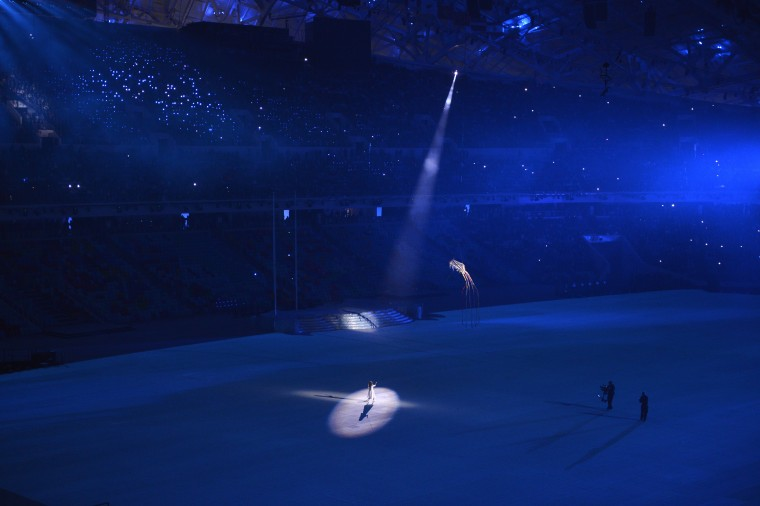 Liza Temnikova performs during the opening ceremony for the Sochi 2014 Olympic Winter Games at Fisht Olympic Stadium. (Robert Hanashiro/USA TODAY Sports)