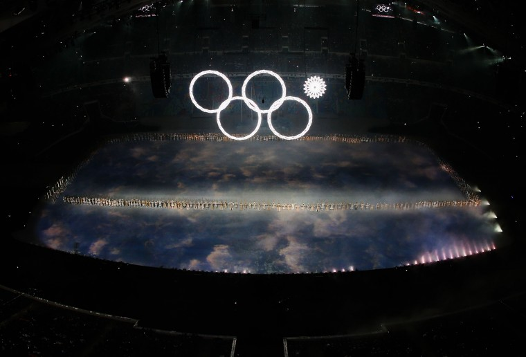 Snowflakes transform into four Olympic rings with one failing to form during the Opening Ceremony of the Sochi 2014 Winter Olympics at Fisht Olympic Stadium on February 7, 2014 in Sochi, Russia. (Photo by Richard Heathcote/Getty Images)