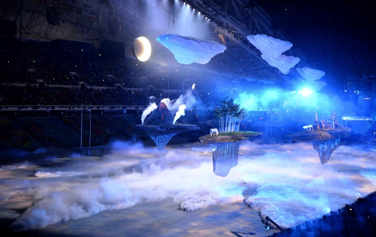 Scenes from some of the seven islands that represent the diversity of Russia float past during the Opening Ceremony of the Sochi Winter Olympics at the Fisht Olympic Stadium on February 7, 2014 in Sochi. (Damien Meyer/AFP/Getty Images)