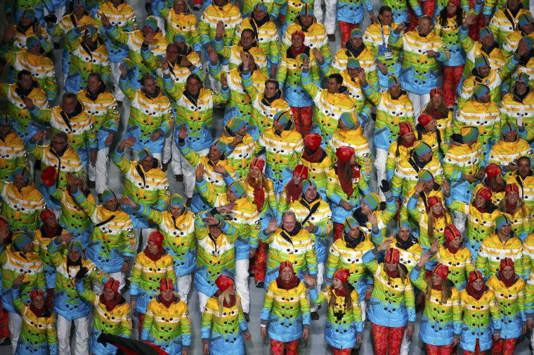 German athletes wave during the opening ceremony of the 2014 Sochi Winter Olympics, February 7, 2014. (REUTERS/David Gray)