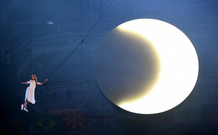 Liza Temnikova performs during the opening ceremony for the Sochi 2014 Olympic Winter Games at Fisht Olympic Stadium. (Robert Deutsch/USA TODAY Sports)