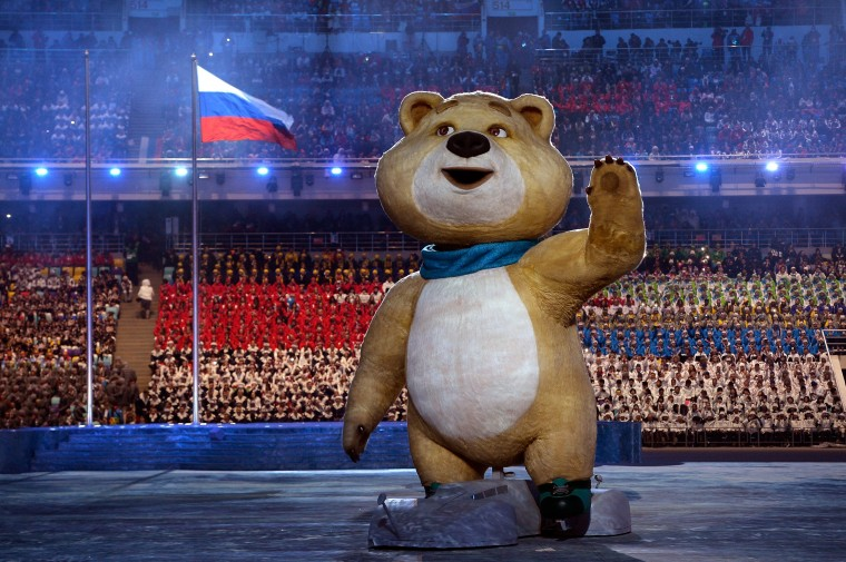 Olympic mascots the Polar Bear waves during the Opening Ceremony of the Sochi 2014 Winter Olympics at Fisht Olympic Stadium on February 7, 2014 in Sochi, Russia. (Photo by Pascal Le Segretain/Getty Images)