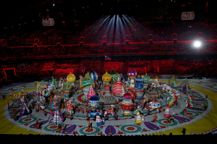 Dancers perform with inflated objects during the Opening Ceremony of the Sochi 2014 Winter Olympics at Fisht Olympic Stadium on February 7, 2014 in Sochi, Russia. (Photo by Bruce Bennett/Getty Images)