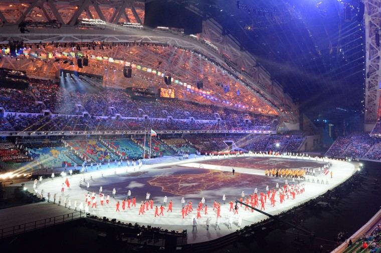 The national delegations parade during the Opening Ceremony of the Sochi Winter Olympics at the Fisht Olympic Stadium on February 7, 2014 in Sochi. (Damien Meyer/AFP/Getty Images)