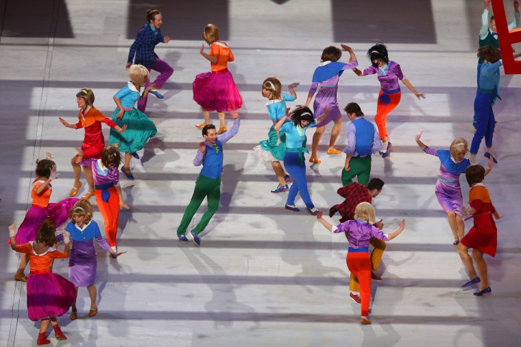 Dancers perform Moskva/The Dream during the Opening Ceremony of the Sochi 2014 Winter Olympics at Fisht Olympic Stadium on February 7, 2014 in Sochi, Russia. (Photo by Bruce Bennett/Getty Images)