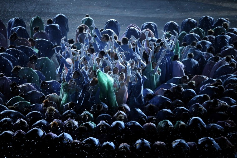Dancers perform Natasha Rostova's First Ball during the Opening Ceremony of the Sochi 2014 Winter Olympics at Fisht Olympic Stadium on February 7, 2014 in Sochi, Russia. (Photo by Bruce Bennett/Getty Images)