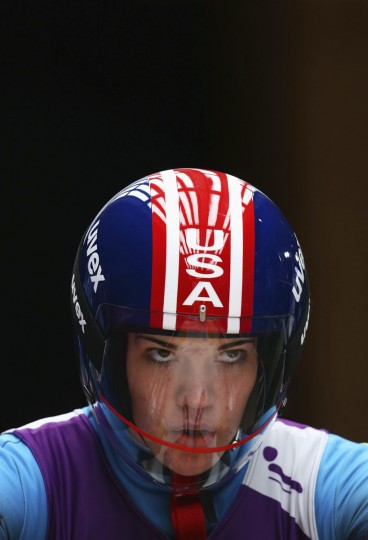 Summer Britcher of the United States looks on prior to a Women's luge run during a training session ahead of the Sochi 2014 Winter Olympics at the Sanki Sliding Center on February 6, 2014 in Sochi, Russia. (Photo by Alex Livesey/Getty Images)