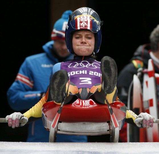 Kate Hansen of the U.S. prepares for the start during the women's luge training at the Sanki sliding center in Rosa Khutor, a venue for the Sochi 2014 Winter Olympics near Sochi, February 6, 2014. (REUTERS/Murad Sezer)