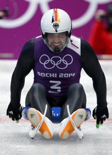 Germany's Andi Langenhan speeds down the track during men's luge training at the Sanki sliding center in Rosa Khutor, a venue for the Sochi 2014 Winter Olympics near Sochi, February 6, 2014. (REUTERS/Murad Sezer)