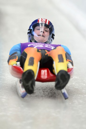 Tucker West (USA) during his training session prior to the start of the Sochi 2014 Olympic Winter Games at Sanki Sliding Center. (John David Mercer-USA TODAY Sports)