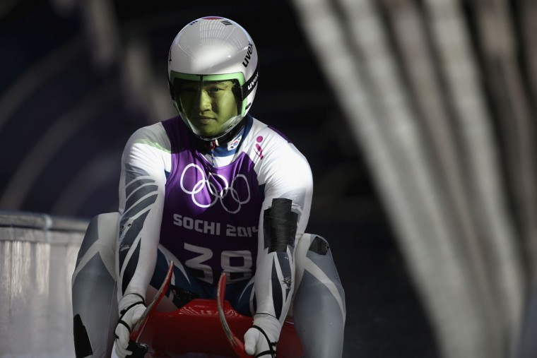 Donghyeon Kim of Korea finishes in the Luge during a training session ahead of the Sochi 2014 Winter Olympics at the Sanki Sliding Center on February 7, 2014 in Sochi, Russia. (Photo by Julian Finney/Getty Images)