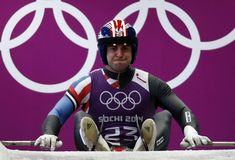 Christopher Mazdzer of the U.S. prepares to start in a men's luge training session at the Sanki sliding center in Rosa Khutor, a venue for the Sochi 2014 Winter Olympics near Sochi, February 7, 2014. (REUTERS/Murad Sezer)
