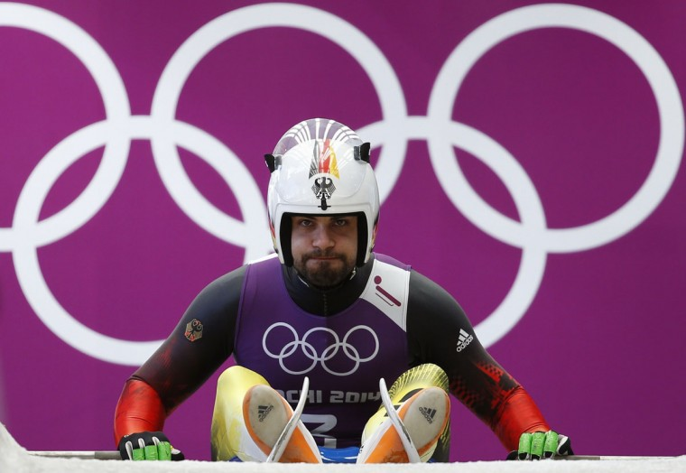 Germany's Andi Langenhan prepares for the start during a men's luge training session at the Sanki sliding center in Rosa Khutor, a venue for the Sochi 2014 Winter Olympics, near Sochi, February 7, 2014. (REUTERS/Murad Sezer)