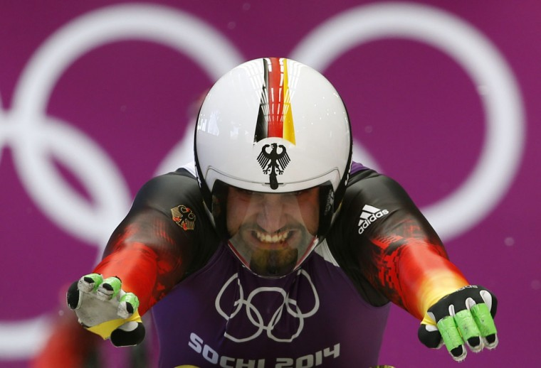 Germany's Andi Langenhan starts during a men's luge training session at the Sanki sliding center in Rosa Khutor, a venue for the Sochi 2014 Winter Olympics, near Sochi, February 7, 2014. (REUTERS/Murad Sezer)