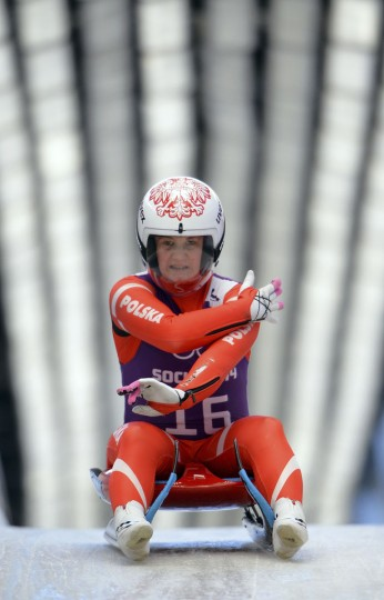 Poland's Natalia Wojtusciszyn practices during a Women Luge training session at the Sanki Sliding Centre in Rosa Khutor on February 8, 2014, during the Sochi Winter Olympics. (Leon Neal/AFP/Getty Images)