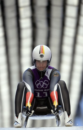 Germany's Natalie Geisenberger practices during a Women Luge training session at the Sanki Sliding Centre in Rosa Khutor on February 8, 2014, during the Sochi Winter Olympics. (Leon Neal/AFP/Getty Images)