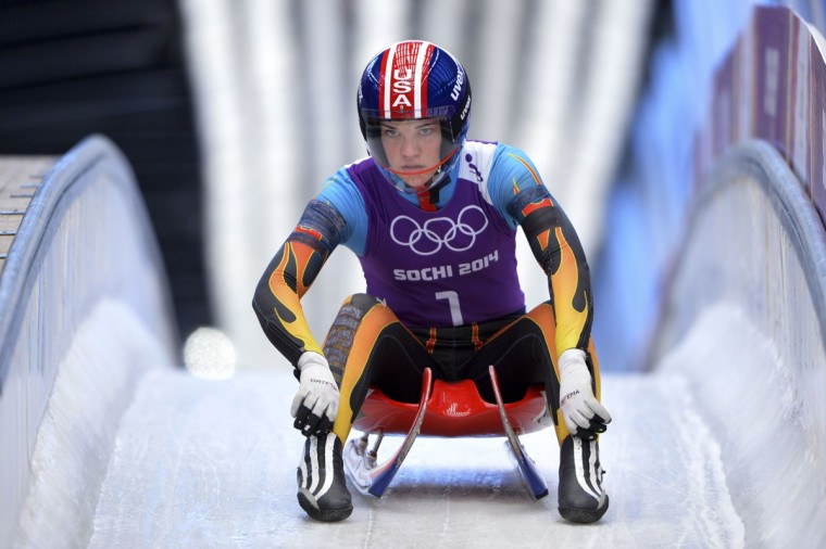 US Summer Britcher practices during a Women Luge training session at the Sanki Sliding Centre in Rosa Khutor on February 8, 2014, during the Sochi Winter Olympics. (Leon Neal/AFP/Getty Images)