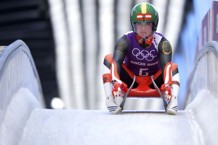 Austria's Nina Reithmayer practices during a Women Luge training session at the Sanki Sliding Centre in Rosa Khutor on February 8, 2014, during the Sochi Winter Olympics. (Leon Neal/AFP/Getty Images)
