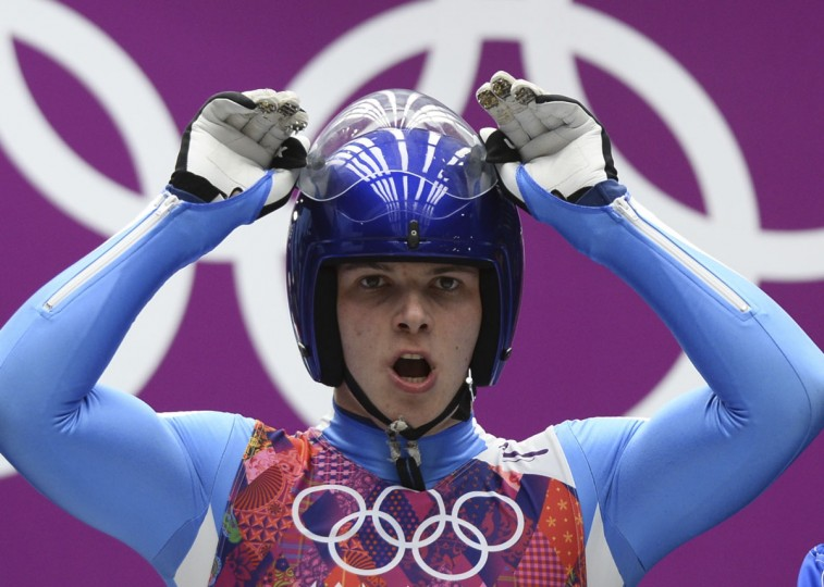 Italy's Dominik Fischnaller competes during the Men's Luge Singles Run at the Sliding Center Sanki during the Sochi Winter Olympics on February 8, 2014. (Lionel Bonaventure/AFP/Getty Images)
