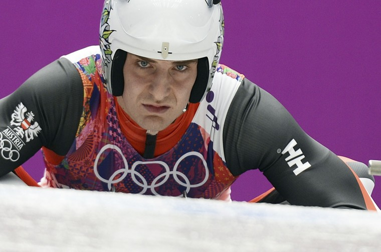 Austria's Reinhard Egger competes during the Men's Luge Singles Run at the Sliding Center Sanki during the Sochi Winter Olympics on February 8, 2014. (Lionel Bonaventure/AFP/Getty Images)