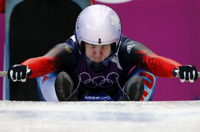 Russia's Ekaterina Baturina prepares to start her women's singles luge training session at the Sochi 2014 Winter Olympic Games at the Sanki Sliding Center February 8, 2014. (REUTERS/Arnd Wiegmann)