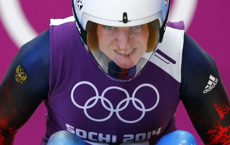 Russia's Natalja Khoreva reacts as she takes part in the women's singles luge training session at the Sochi 2014 Winter Olympic Games at the Sanki Sliding Center February 8, 2014. (REUTERS/Arnd Wiegmann)