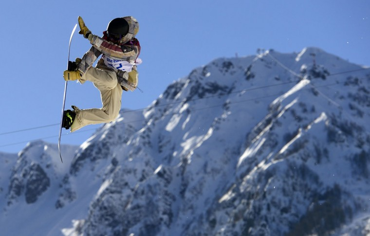 US Sage Kotsenburg competes in the Men's Snowboard Slopestyle Final at the Rosa Khutor Extreme Park during the Sochi Winter Olympics on February 8, 2014. Kotsenburg won the Gold Medal. (Javier Soriano/AFP/Getty Images)