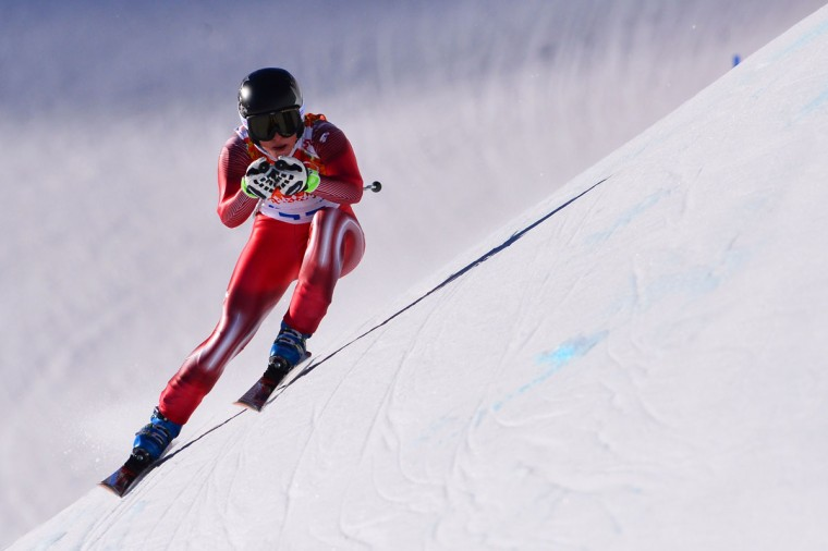 Switzerland's Lara Gut takes part in a Women's Alpine Skiing Downhill training session at the Rosa Khutor Alpine Center on February 8, 2014, during the Sochi Winter Olympics. (Dimitar Dilkoff/AFP/Getty Images)