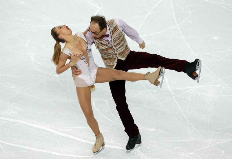 Germany's Nelli Zhiganshina and Germany's Alexander Gazsi perform in the Figure Skating Team Ice Dance Short Dance at the Iceberg Skating Palace during the Sochi Winter Olympics on February 8, 2014. (Adrian Dennis/AFP/Getty Images)