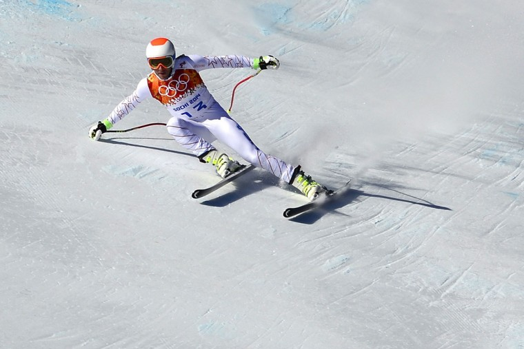 US skier Bode Miller takes part in a Men's Alpine Skiing Downhill training session at the Rosa Khutor Alpine Center on February 8, 2014, during the Sochi Winter Olympics. (Oliver MorinAFP/Getty Images)