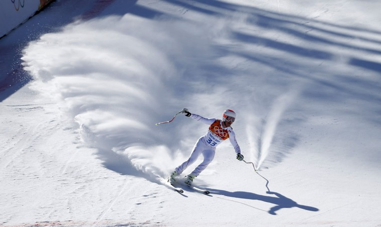 Jared Goldberg of the U.S. skis in a training session for the men's alpine skiing downhill race during the 2014 Sochi Winter Olympics at the Rosa Khutor Alpine Center February 8, 2014. (REUTERS/Leonhard Foeger)