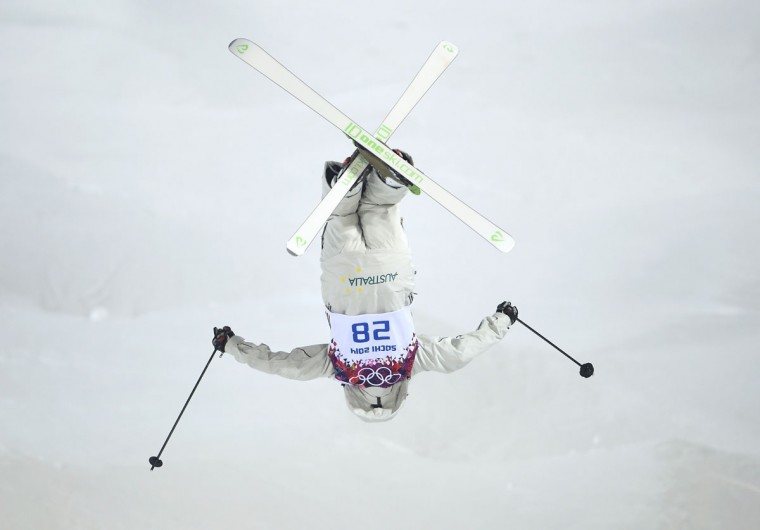 Australia's Taylah O'Neill performs a jump during the women's freestyle skiing moguls final competition at the 2014 Sochi Winter Olympic Games in Rosa Khutor, February 8, 2014. (REUTERS/Dylan Martinez)