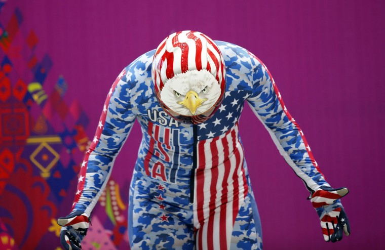 Katie Uhlaender of the U.S. gets ready during a women's skeleton training session at the Sanki sliding center in Rosa Khutor, a venue for the Sochi 2014 Winter Olympics, near Sochi February 8, 2014. (REUTERS/Murad Sezer)