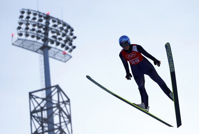 Carina Vogt of Germany soars through the air during the women's ski jumping individual normal hill training event of the Sochi 2014 Winter Olympic Games, at the RusSki Gorki Ski Jumping Center in Rosa Khutor February 8, 2014. (REUTERS/Michael Dalder)