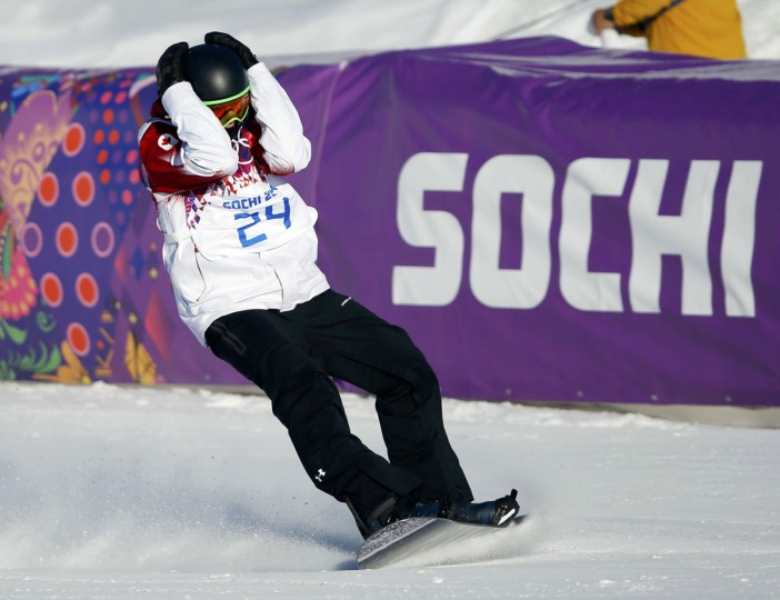 Canada's Mark McMorris reacts on the finish line during the men's snowboard slopestyle semi-final competition at the 2014 Sochi Olympic Games in Rosa Khutor February 8, 2014. (REUTERS/Mike Blake)