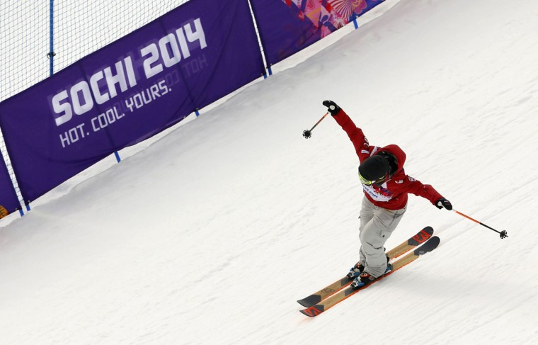 Canada's Dara Howell reacts after winning the women's freestyle skiing slopestyle finals at the 2014 Sochi Winter Olympic Games in Rosa Khutor February 11, 2014. (REUTERS/Lucas Jackson)