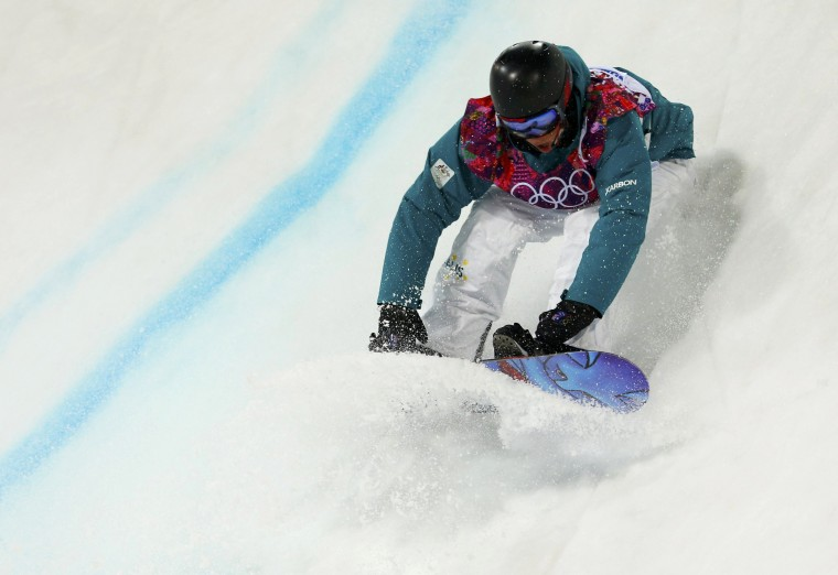 Australia's Kent Callister skis during the men's snowboard halfpipe semi-final event at the 2014 Sochi Winter Olympic Games, in Rosa Khutor February 11, 2014. (REUTERS/Lucas Jackson)