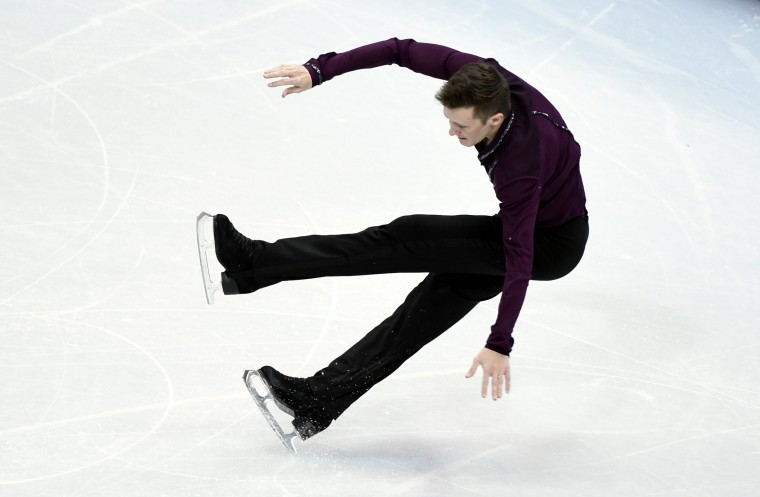Jeremy Abbott (USA) falls during the figure skating team men short program in the Sochi 2014 Olympic Winter Games at Iceberg Skating Palace. (Richard Mackson-USA TODAY Sports)
