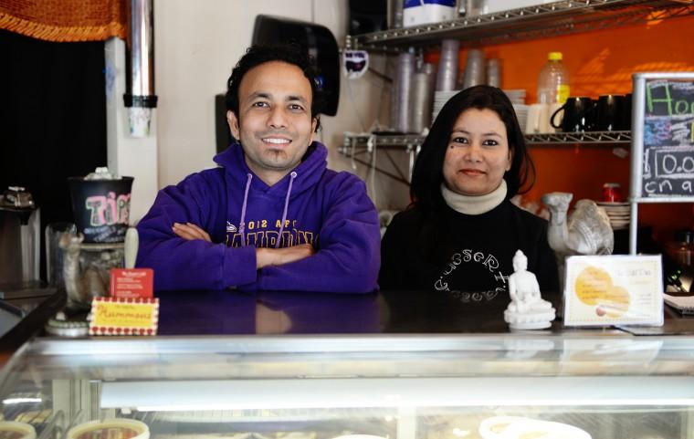 Desert Cafe cook Rajesh Raut, left, and waitress, Sirjana Gautam, pose for a photo at Desert Cafe in Mount Washington on Friday, Jan. 31, 2014. (Jon Sham/BSMG)