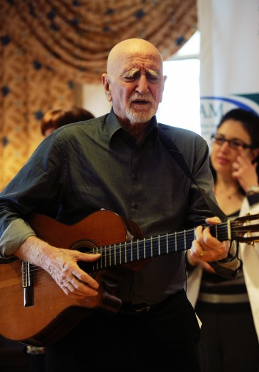 "Actor and singer Dominic Chianese, known for playing Corrado John ""Uncle Junior"" Soprano in HBO's The Sopranos, sings to residents of Stella Maris nursing home in Timonium on Monday, Feb. 3, 2014. Chianese appeared as part of his Joy Through Art Foundation, which received a donation from the Heath Facilities Association of Maryland. (Jon Sham/BSMG)"
