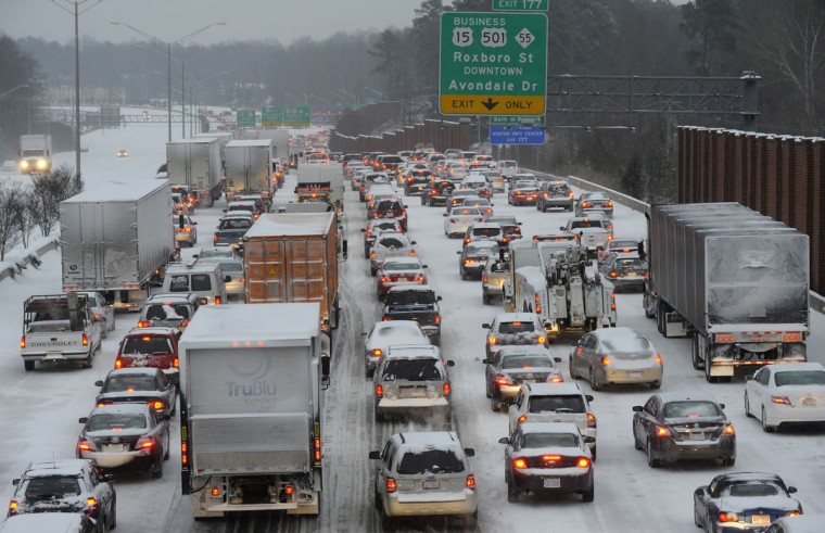 Northbound on Interstate 85 is at a standstill at rush-hour in Durham, N.C. (Photo by Sara D. Davis/Getty Images)