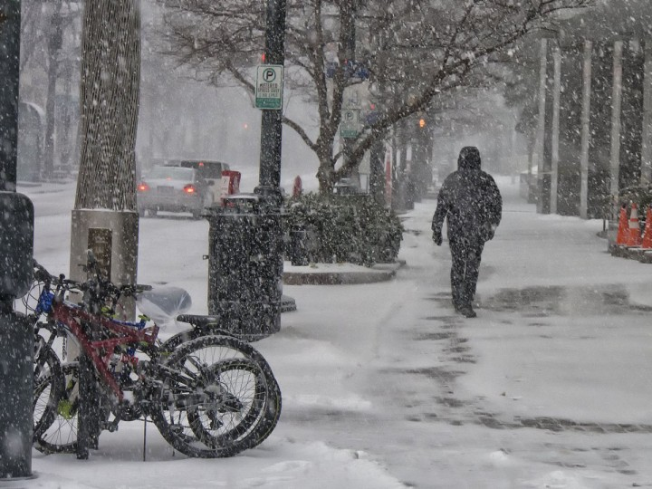 A pedestrian walks in the snow on South Tryon Street in uptown Charlotte, N.C. (Mark Hames/Charlotte Observer/MCT)