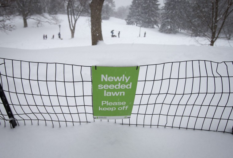 A sign is seen at Central Park in New York City as people play in the snow. (REUTERS/Carlo Allegri)