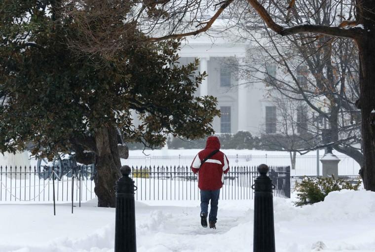 A man walks through Lafayette Park in front of the White House during a major winter storm that closed U.S. Federal Government offices for the day and shut down much of the city of Washington. (REUTERS/Jim Bourg)